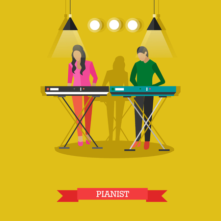 Boy and girl playing electric piano on stage. Young people playing musical instruments, vector illustration in flat style.