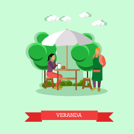 veranda: Street cafe concept vector illustration in flat style. Veranda design element with waiter serving woman sitting at the table under umbrella.