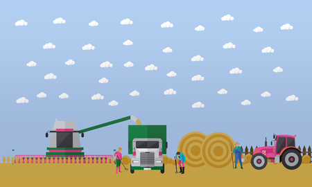 hay field: Working people and agricultural machinery on field. Combine harvester, truck, tractor with trailer full of round bales of hay. Wheat harvesting concept vector illustration in flat style