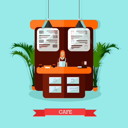 bar interior: Vector illustration of young woman standing behind of bar counter. Cafe interior design in flat style.