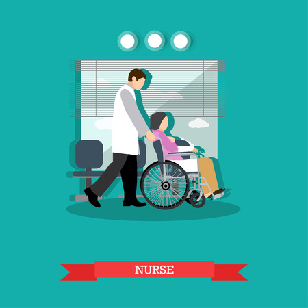 Medical care for disabled people concept vector illustration in flat style. Medical worker nurse man carrying patient woman in wheelchair.