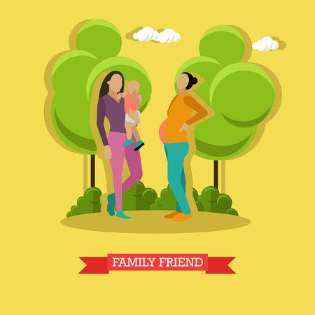 Vector illustration of mother holding her little boy and woman family friend. Family communication concept design element in flat style.