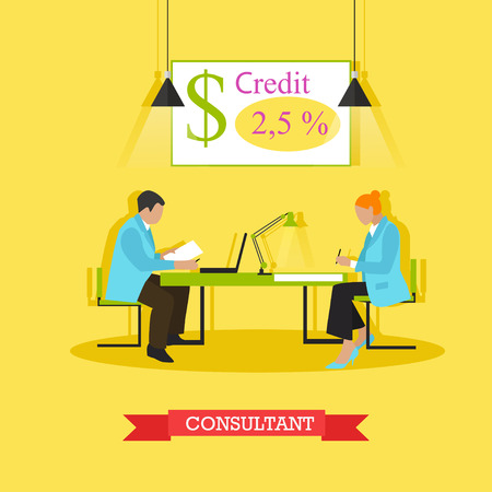 repayment: Vector illustration of consultant advising customer about bank products and operations. Signing agreement. Finance and banking concept design element in flat style