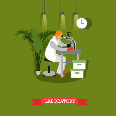 scientific research: Vector illustration of man looking through microscope in flat style. Laboratory interior and equipment. Scientific research concept design element. Illustration