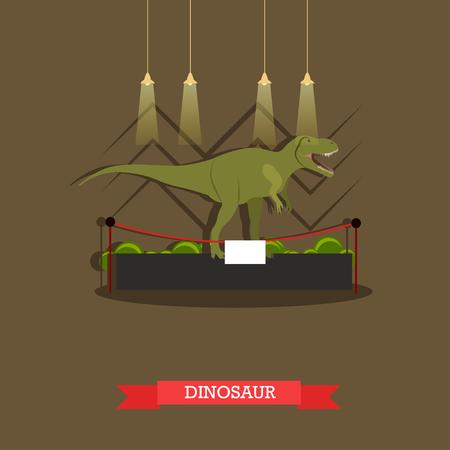 showpiece: Vector illustration of stuffed tyrannosaurus dinosaur in museum. Exposition room interior design element in flat style.