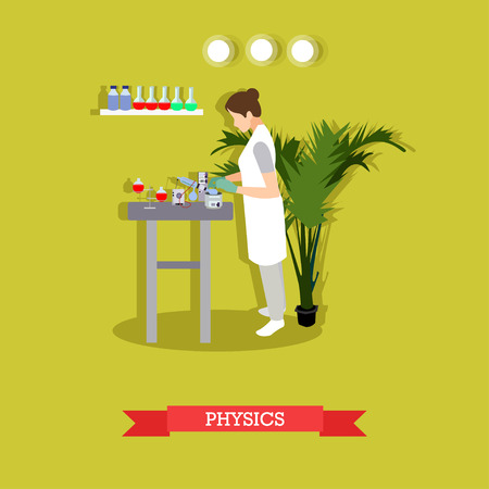 physicist: Physics research concept vector illustration in flat style. Physicist woman carrying out experiment. laboratory interior, glassware and equipment. Illustration