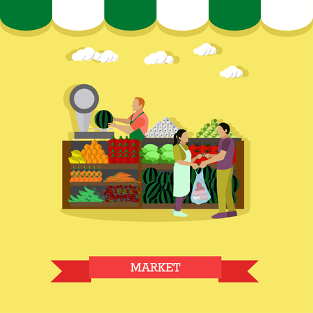 greengrocery: Vector illustration of market greengrocery design element in flat style. People selling and buying fruit and vegetables.