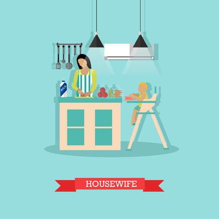 woman drinking milk: Vector illustration of mother and little son in kitchen. Woman is cooking, little boy is sitting at the table in baby chair. Housewife concept design element in flat style.
