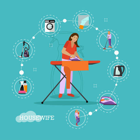 ironing: Vector set of housekeeping infographic items, icons. Woman ironing, mother with son, household appliances. Housewife concept design element in flat style.