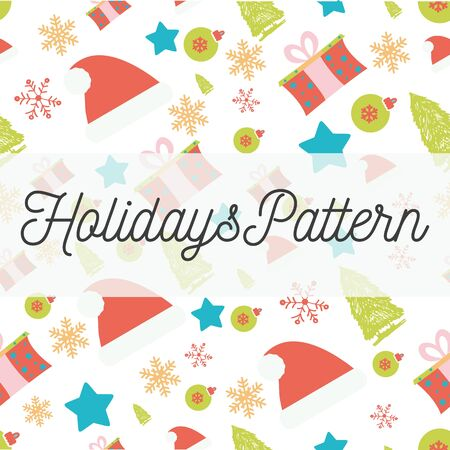 paper hats: Vector Holidays seamless pattern with santa hats, gifts, fir-trees, snowflakes, balls, stars, lettering. Decorative festive design element for Christmas greeting card, invitation, wrapping paper.