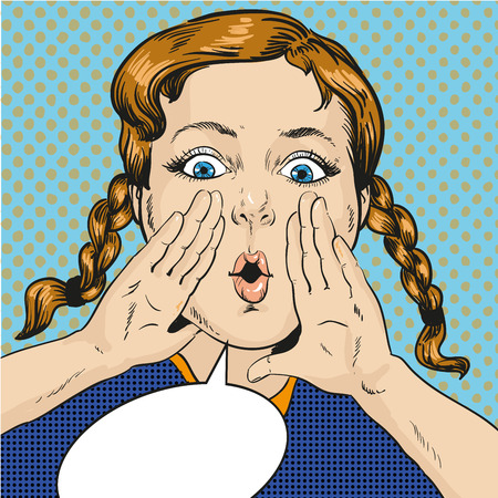 Vector illustration of girl calling for somebody in retro pop art comic style. Speech bubble. Illustration