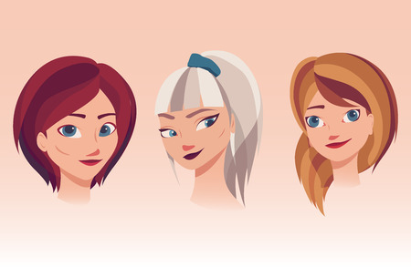 Vector illustration of girls faces with different kinds of hairstyles, hair colors. Beautiful young women with dyed hair.