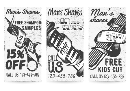 Vector set of black and white templates for barber shops offers and promotions in vintage style. 15 percent off, free kids cut, 10 percent off wax coupons, typographic elements for mens shave service.