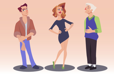 admirable: Vector illustration of woman and two men with different facial expressions. Cartoon young man and old-aged man admiring beautiful woman. Feelings and emotions concept design elements.