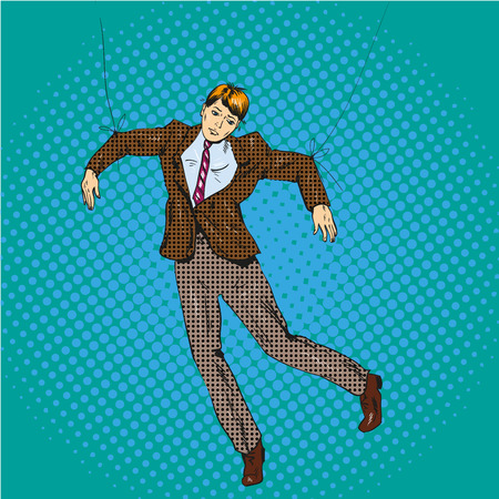 Vector illustration of man hanging on strings like a marionette in retro pop art comic style. Manipulated employee or businessman.