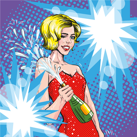 champagne pop: Vector illustration of woman with opened bottle of champagne in pop art retro comic style. Champagne splashes. Celebration event. Illustration