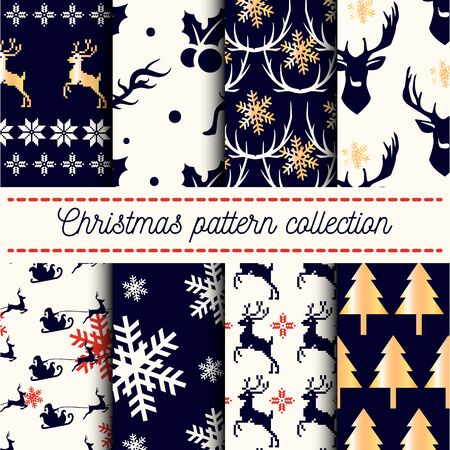 happy new years: Vector collection of 8 seamless Merry Christmas and Happy New Years patterns with dark blue and white backgrounds, traditional holiday symbols - Santa Claus, reindeer, ornament, fir-tree, snowflakes.