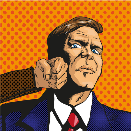 smack: Vector illustration of man getting punch in his face in retro pop art comic style. Businessman facing unexpected difficulties and resisting them