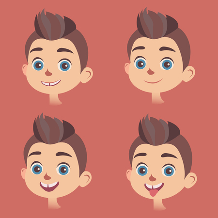 mirthful: Vector set of little boys faces with different kinds of facial expressions. Smiling, calm, astonished faces, with sticking out tongue. Feelings and emotions concept design elements. Illustration