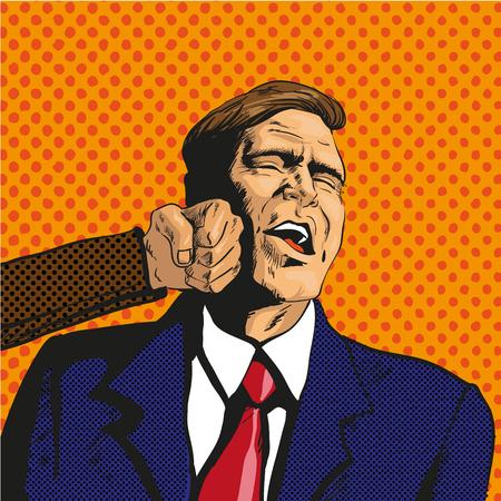 delito: Ilustración del vector del hombre que consigue puñetazo en la cara en estilo cómico retro pop art. El hombre de negocios se enfrentan a dificultades inesperadas. Le duele.