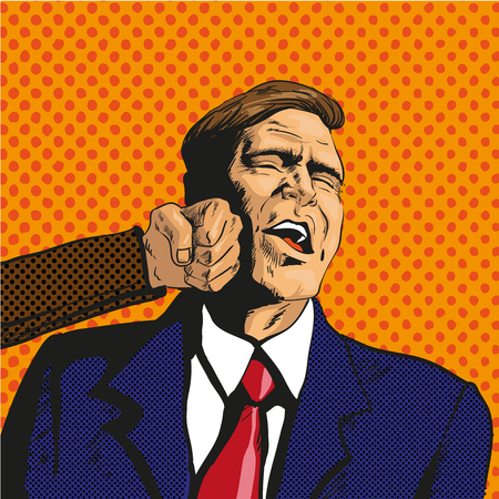offense: Vector illustration of man getting punch in his face in retro pop art comic style. Businessman facing unexpected difficulties. It hurts him.