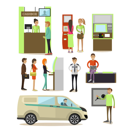 Vector set of banking concept design elements, icons in flat style. Customers carrying out operations with ATM, self-service terminal. Bank employees, guard, safe, cash box, encashment truck. Illustration