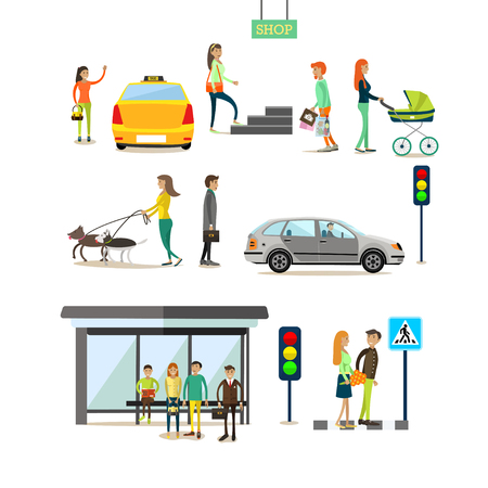 crossing street: Vector set of street traffic concept design elements in flat style. People crossing street, catching taxi, walking dogs, going shopping. Mother with baby carriage. Bus stop, traffic lights, road sign.