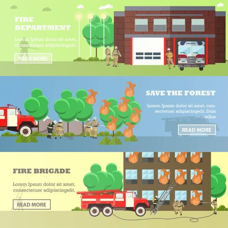 fire brigade: Vector set of Fire department, Save the forest, Fire brigade horizontal banners. Fire fighting concept design elements in flat style.
