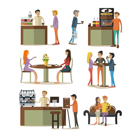 visitors: Vector set of coffee room design elements, icons, isolated on white background. Coffee room interior, coffee making equipment, working people and visitors in flat style. Illustration