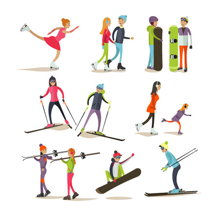 going in: Vector set of characters skating, skiing, snowboarding, isolated on white background. Children and adults going in for sports. Outdoor winter activities concept design elements, icons in flat style.