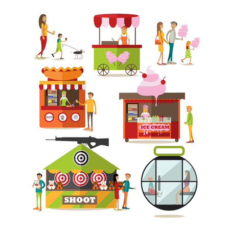 Vector set of amusement park design elements, icons in flat style. Kids with their parents, having rest, buying cotton candy, ice cream and hot dog. Street food truck, stall, kiosk. Shooting range.