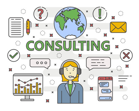 financial adviser: Vector Consulting service concept banner. Linear chart, graph. Consultant with speech bubbles. Thin line flat design infographic elements, symbols and icons for web, marketing and printing. Illustration