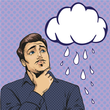 Vector illustration of sad, upset man looking at crying cloud in retro pop art comic style. It is raining. Feelings and emotions concept.