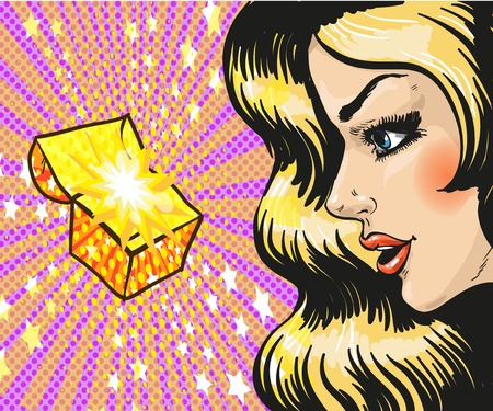 delighted: Vector illustration of beautiful young woman looking at gift, jewelry box in retro pop art comic style. She is delighted.