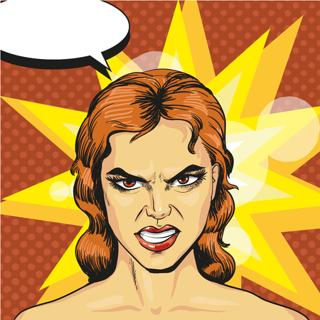 irked: Vector illustration of angry, infuriated woman in retro pop art comic style. Negative emotions.