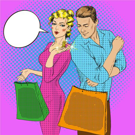 Vector illustration of man and woman with bags in retro pop art comic style. Couple talking to each other. Speech bubble. Lady showing coins on her palm. Shopping concept. Illustration