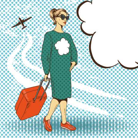 valise: Vector illustration of woman with travelling case in retro pop art comic style. Travel by air concept.
