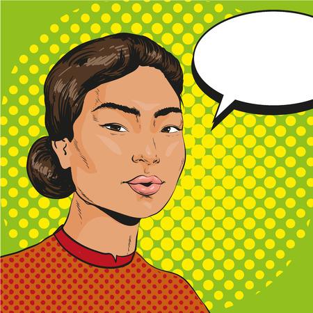 Ilustraciones Vectoriales de mujer asiática con burbuja de discurso en el estilo retro comic pop art. Foto de archivo - 68194458