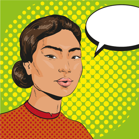 Vector Illustration of asian woman with speech bubble in retro pop art comic style.