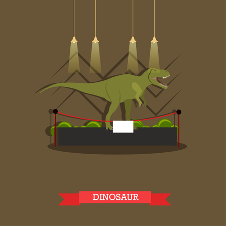 Vector illustration of stuffed tyrannosaurus dinosaur in museum. Exposition room interior design element in flat style.