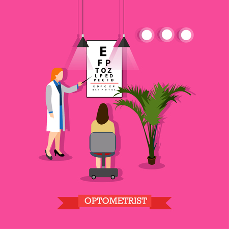 checking: Ophthalmology concept vector illustration in flat style. Doctor woman optometrist checking patients vision with chart for visual acuity testing.