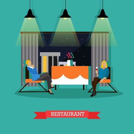Restaurant interior, vector illustration in flat style. Restaurant design element with two women sitting at the table.