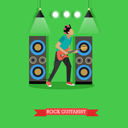 rock guitarist: Boy Rock Guitarist, vector illustration in flat style. Rocker playing electric guitar on stage, string musical instrument. Illustration