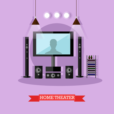 dvd room: Vector illustration of home theater. Audio visual system for living room. Home interior design element in flat style