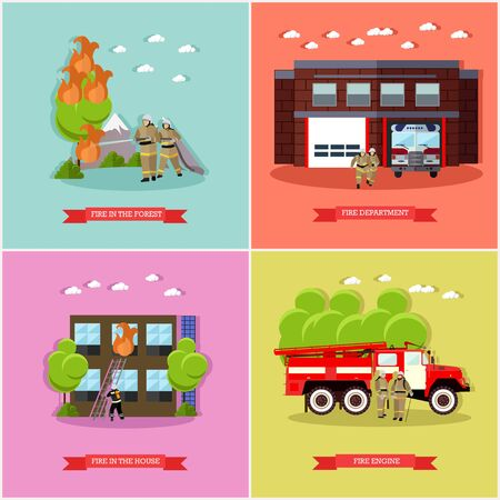 house on fire: Vector set of posters, banners with fire fighting concept design elements in flat style. Fire department, fire engine, firemen fighting fire in the forest and in the house. Fire brigade, team.