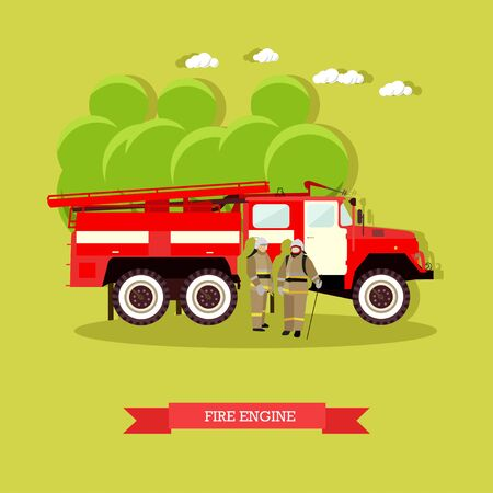 Vector illustration of red fire engine in flat style. Vehicle carrying firefighters and equipment for fighting fires. Fire truck and firefighters in uniform.