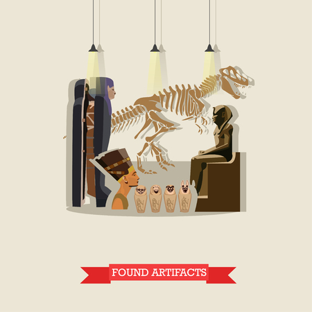 paleontological: Vector illustration of found artifacts of ancient Egypt in flat style. Skeleton of dinosaur, mummies and statue of pharaohs, figurines Ushabti, Nefertiti bust.