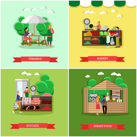 veranda: Vector set of shopping market posters, banners in flat style. Veranda, market, butcher, street food design elements in flat style. People selling and buying food.