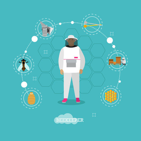 Beekeeper man in uniform in center of apiculture concept design elements - wooden beehives, apiarist, smoker, bee, honey jar. Vector infographic items, icons in flat style Illustration
