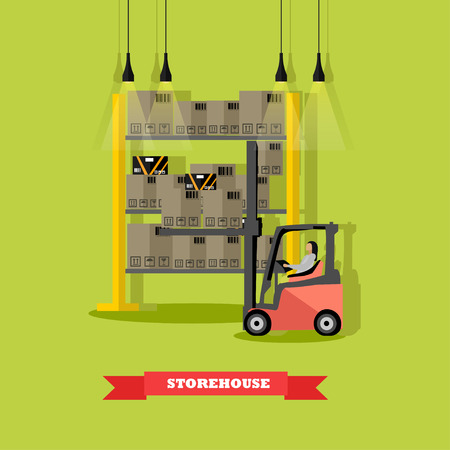 Vector illustration of distribution, removal of goods from warehouse by forklift. Logistics transportation, storage concept design element in flat style.